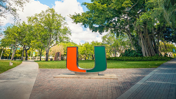 U statue on Coral Gables campus